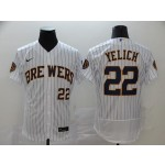 MLB Milwaukee Brewers #22 Christian Yelich White Stripe 2020 Nike Flexbase Jersey