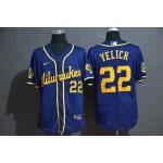 MLB Milwaukee Brewers #22 Christian Yelich Royal Blue 2020 Nike Flexbase Jersey