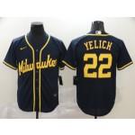 MLB Milwaukee Brewers #22 Christian Yelich Navy 2020 Nike Cool Base Jersey