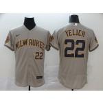MLB Milwaukee Brewers #22 Christian Yelich Grey 2020 Nike Cool Base Jersey