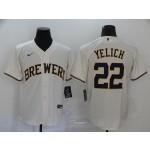 MLB Milwaukee Brewers #22 Christian Yelich Cream 2020 Nike Cool Base Jersey
