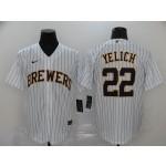 MLB Milwaukee Brewers #22 Christian Yelich White Stripe 2020 Nike Cool Base Jersey