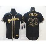 MLB Milwaukee Brewers #22 Christian Yelich Black Gold Nike 2020 Flexbase Jersey