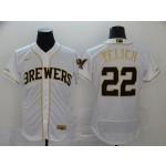 MLB Milwaukee Brewers #22 Christian Yelich White Gold Nike 2020 Flexbase Jersey