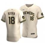 Men's Milwaukee Brewers #18 Keston Hiura Nike Cream Home 2020 Authentic Flexbase MLB Jersey