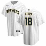 Men's Milwaukee Brewers #18 Keston Hiura Nike White Home 2020 Coolbase Jersey