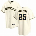 Men's Milwaukee Brewers #25 Brett Anderson Nike Cream Home 2020 Coolbase Jersey