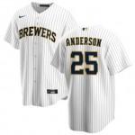Men's Milwaukee Brewers #25 Josh Hader#25 Brett Anderson Nike White Home 2020 Coolbase Jersey
