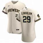 Men's Milwaukee Brewers #29 Josh Lindblom Nike Cream Home 2020 Authentic Flexbase MLB Jersey