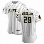 Men's Milwaukee Brewers #29 Josh Lindblom Nike White Home 2020 Authentic Player MLB Jersey