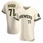 Men's Milwaukee Brewers #71 Josh Hader Nike Cream Home 2020 Authentic Flexbase MLB Jersey