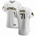 Men's Milwaukee Brewers #71 Josh Hader Nike White Home 2020 Authentic Player MLB Jersey