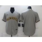 Men's Milwaukee Brewers Blank Grey Nike Cool base Jersey