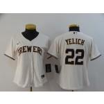 Women Milwaukee Brewers #22 Christian Yelich Cream 2020 Nike Cool Base Jersey