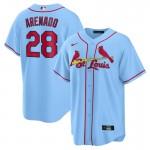 Cardinals #28 Nolan Arenado Light Blue Nike Cool Base Jersey
