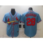 Men's St. Louis Cardinals #28 Nolan Arenado Light Blue Stitched MLB Cool Base Nike Jersey