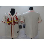Men's St. Louis Cardinals Cream Stitched MLB Blank Cool Base Nike Jersey