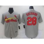 St. Louis Cardinals #28 Nolan Arenado Gray Cool Base Jersey