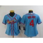 Women St.Louis Cardinals #4 Yadier Molina Light Blue 2020 Nike Cool Base Jersey