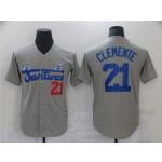 Santurce Crabbers #21 Roberto Clemente Gray Baseball Jersey