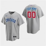 Men's Chicago Cubs Custom Gray Road Cool Base Jersey(Name and number remark in comment column)