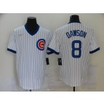 MLB Chicago Cubs #8 Andre Dawson White Nike Gold Cool base Jersey