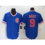 MLB Chicago Cubs #9 Javier Baez Blue Nike Gold Cool base Jersey
