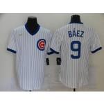 MLB Chicago Cubs #9 Javier Baez White Nike Gold Cool base Jersey