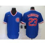 MLB Chicago Cubs #23 Ryne Sandberg Blue Nike Gold Cool base Jersey