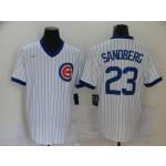 MLB Chicago Cubs #23 Ryne Sandberg White Nike Gold Cool base Jersey