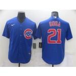 Chicago Cubs #21 Sammy Sosa Blue Cool Base Jersey