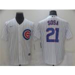 Chicago Cubs #21 Sammy Sosa White Cool Base Jersey