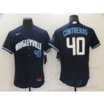 Chicago Cubs #40 Willson Contreras Navy 2021 City Connect Flex Base Jersey