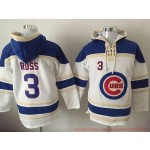 MLB Chicago Cubs #3 David Ross White All Stitched Hooded Sweatshirt