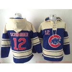 MLB Chicago Cubs #12 Kyle Schwarber Blue All Stitched Hooded Sweatshirt