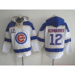 MLB Chicago Cubs #12 Kyle Schwarber White All Stitched Hooded Sweatshirt