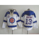 MLB Chicago Cubs #13 Starlin Castro White All Stitched Hooded Sweatshirt