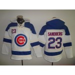 MLB Chicago Cubs #23 Ryne Sandberg White All Stitched Hooded Sweatshirt