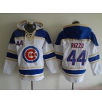 MLB Chicago Cubs #44 Anthony Rizzo White All Stitched Hooded Sweatshirt