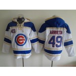 MLB Chicago Cubs #49 Jake Arrieta White All Stitched Hooded Sweatshirt