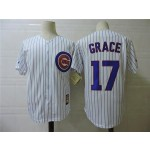 Men's Throwback Chicago Cubs #17 Mark Grace White 1990 Mitchell & Ness Jersey