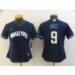 Women's Chicago Cubs #9 Javier Baez Navy 2021 City Connect Cool Base Jersey