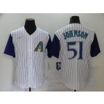 MLB Arizona Diamondbacks #51 Randy Johnson Cream with Purple sleeve Nike Jersey
