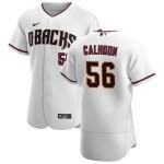 Men's Arizona Diamondbacks #56 Kole Calhoun Nike White Crimson Authentic Home Team MLB Jersey