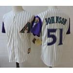 Men's Arizona Diamondbacks #51 Randy Johnson Cream with Purple sleeve Throwback Jersey