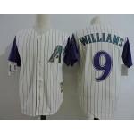 Men's Arizona Diamondbacks #9 Matt Williams Cream with Purple sleeve Throwback Jersey