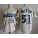 Men's Arizona Diamondbacks #51 Randy Johnson Cream Pinstripes Throwback Jersey