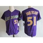 Men's Arizona Diamondbacks #51 Randy Johnson Purple Throwback Jersey