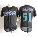 Men's Arizona Diamondbacks #51 Randy Johnson Black throwback mesh fabric Jersey