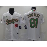 Los Angeles Dodgers #81 Victor Gonzalez White Mexico Flag Themed World Series Jersey